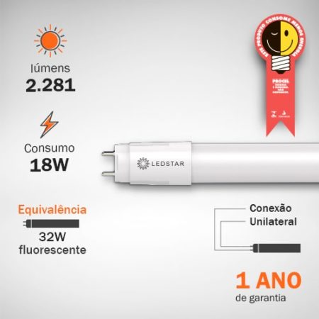 Lâmpada LED Tubular 18W T8 Base G13 Procel