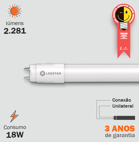 Lâmpada LED Tubular 18W T8