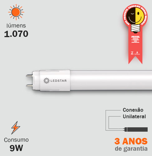 Lâmpada LED Tubular 9W T8